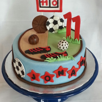 Two Sports My Grandson plays soccer and basketball, so I depicted both in this cake