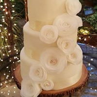 Wafer Paper Roses Wedding Cake   Wafer paper rose wedding cake, made for my son's wedding.