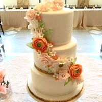 Wedding Cake With Coral Flowers Wedding cake with gum paste flowers