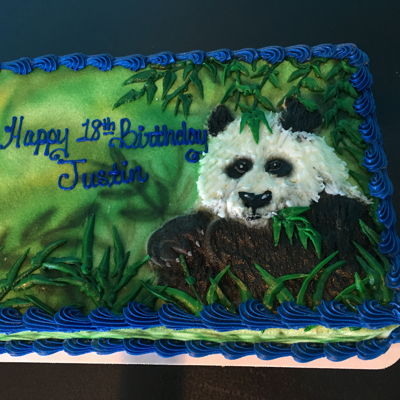 Buttercream Panda Sheet Cake