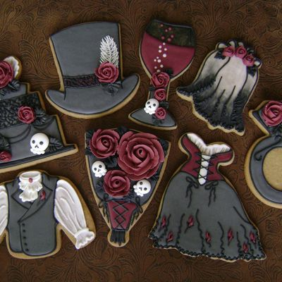 Gothic Rose Wedding Cookie Set