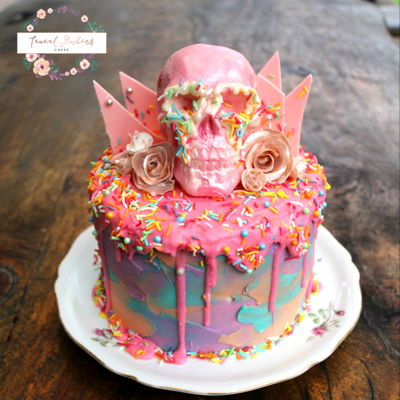 Pastel Drippy Cake + Pink Chocolate Skull & Shards