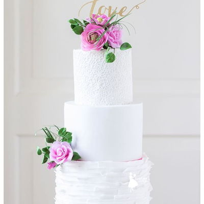 Pink And Lace Weddingcake