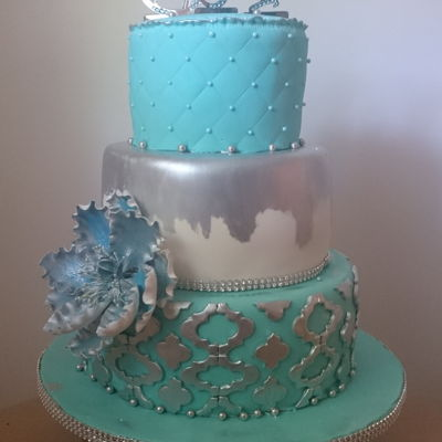 Turquoise Silver And White Cake