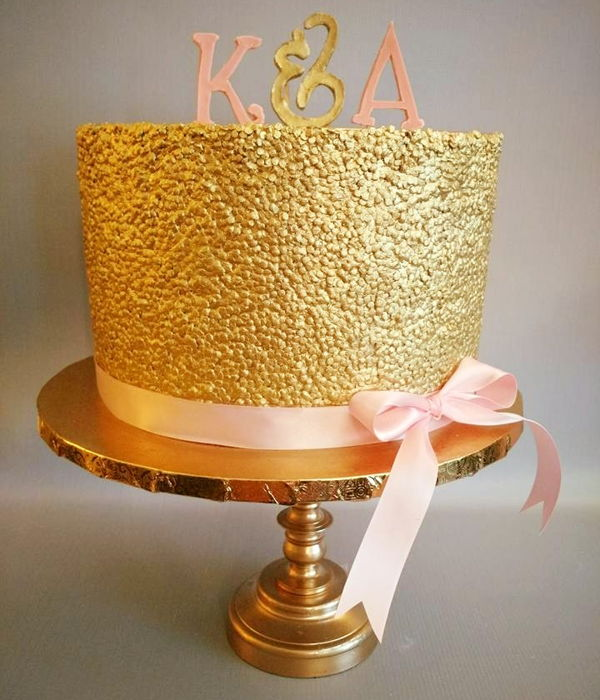 Gold Sequin & Pink Bridal Shower Cake