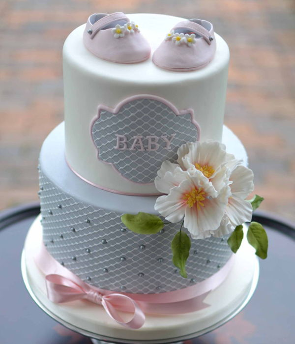 Pink And Grey Baby Shower Cake Photos