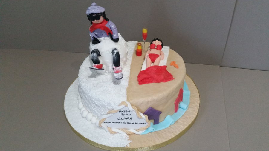 A Half And Half Cake With The Lady Skiing On One Side And