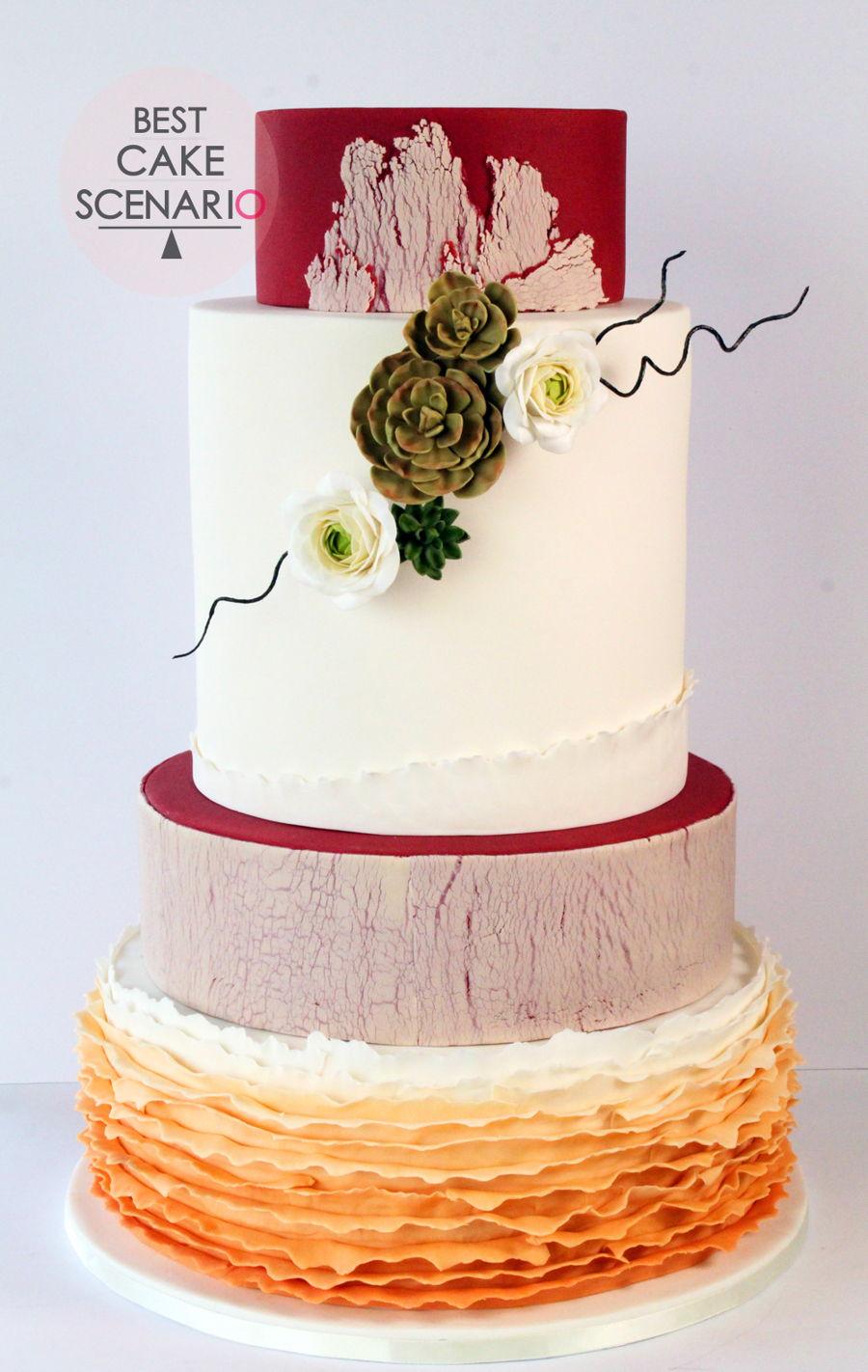 Autumn Garden Wedding Cake - CakeCentral.com