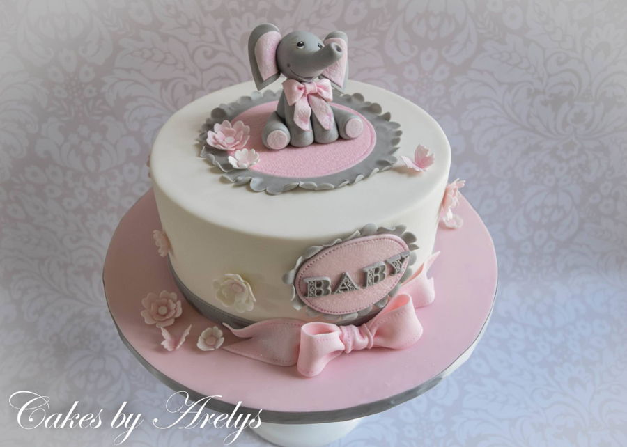 baby shower cake with gumpaste baby elephant topper