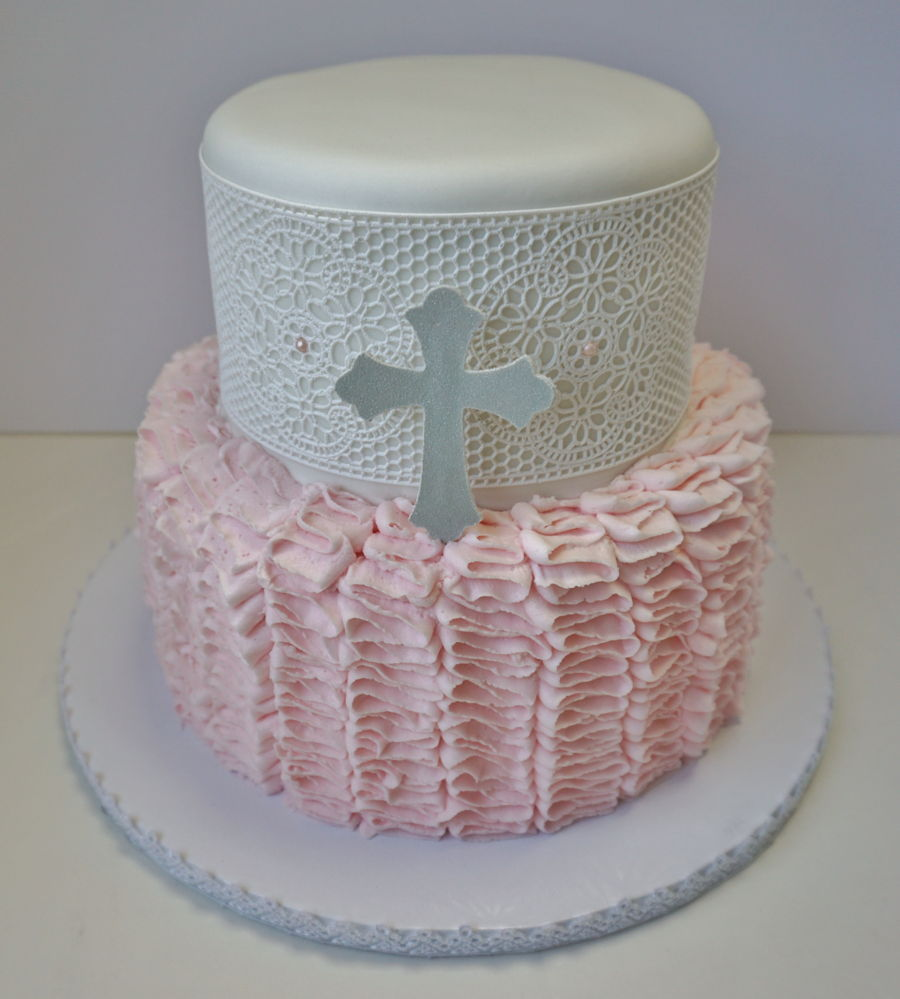 Girl S Baptism Cake With Lace Cakecentral Com