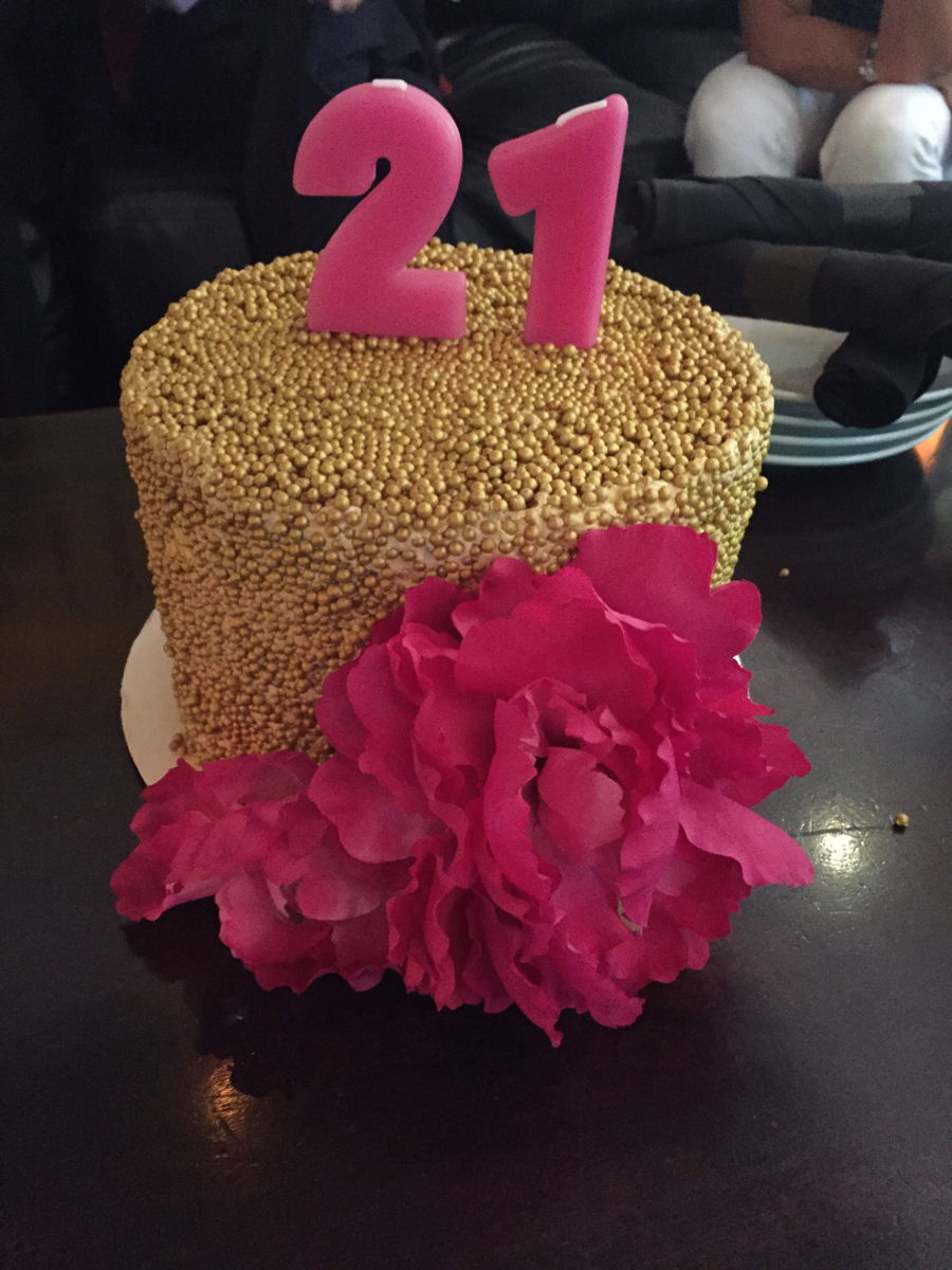 Cake Decorating Gold Pearls : Gold Pearl Cake With Hot Pink Peonies - CakeCentral.com