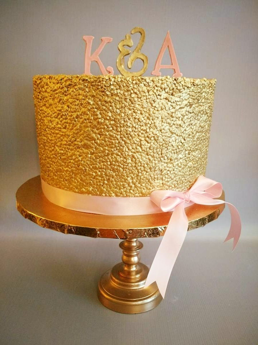 Gold Sequin Cake Decoration : Gold Sequin & Pink Bridal Shower Cake - CakeCentral.com