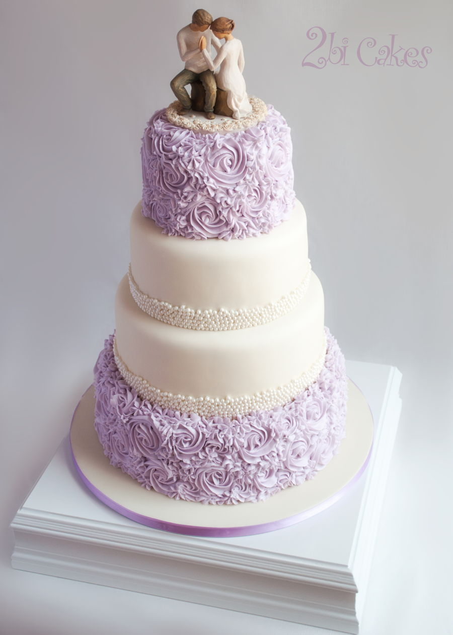 Lavender Rosettes And Pearls Wedding Cake By 2Bi Cakes On Central