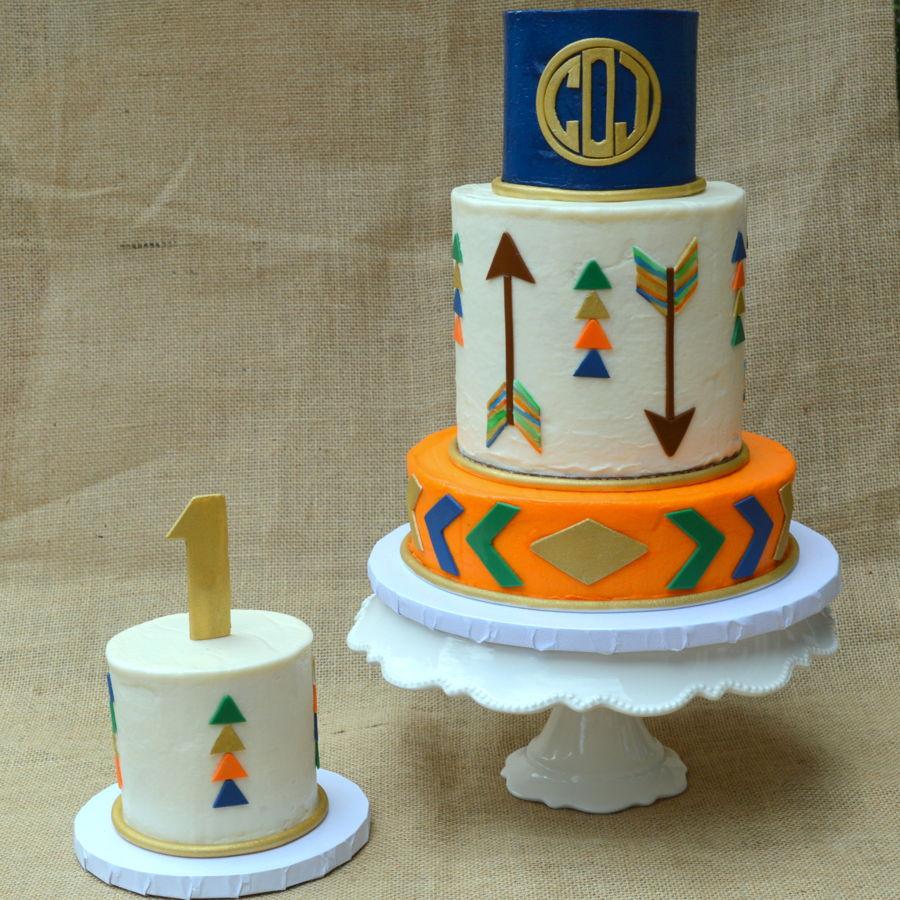 Monogram Tribal Cake And Smash Cake Cakecentral Com