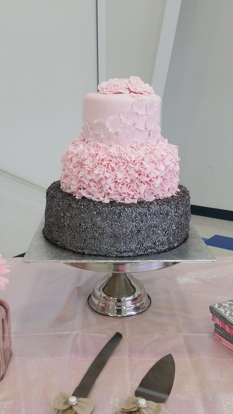 pink and gray bridal shower cake on cake central