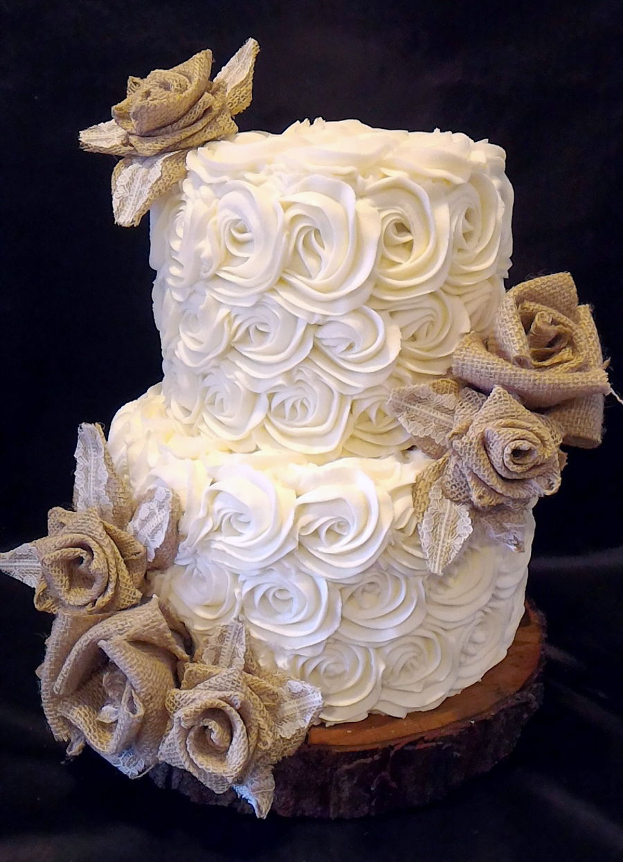 Rosettes Amp Burlap Wedding Cake Cakecentral Com