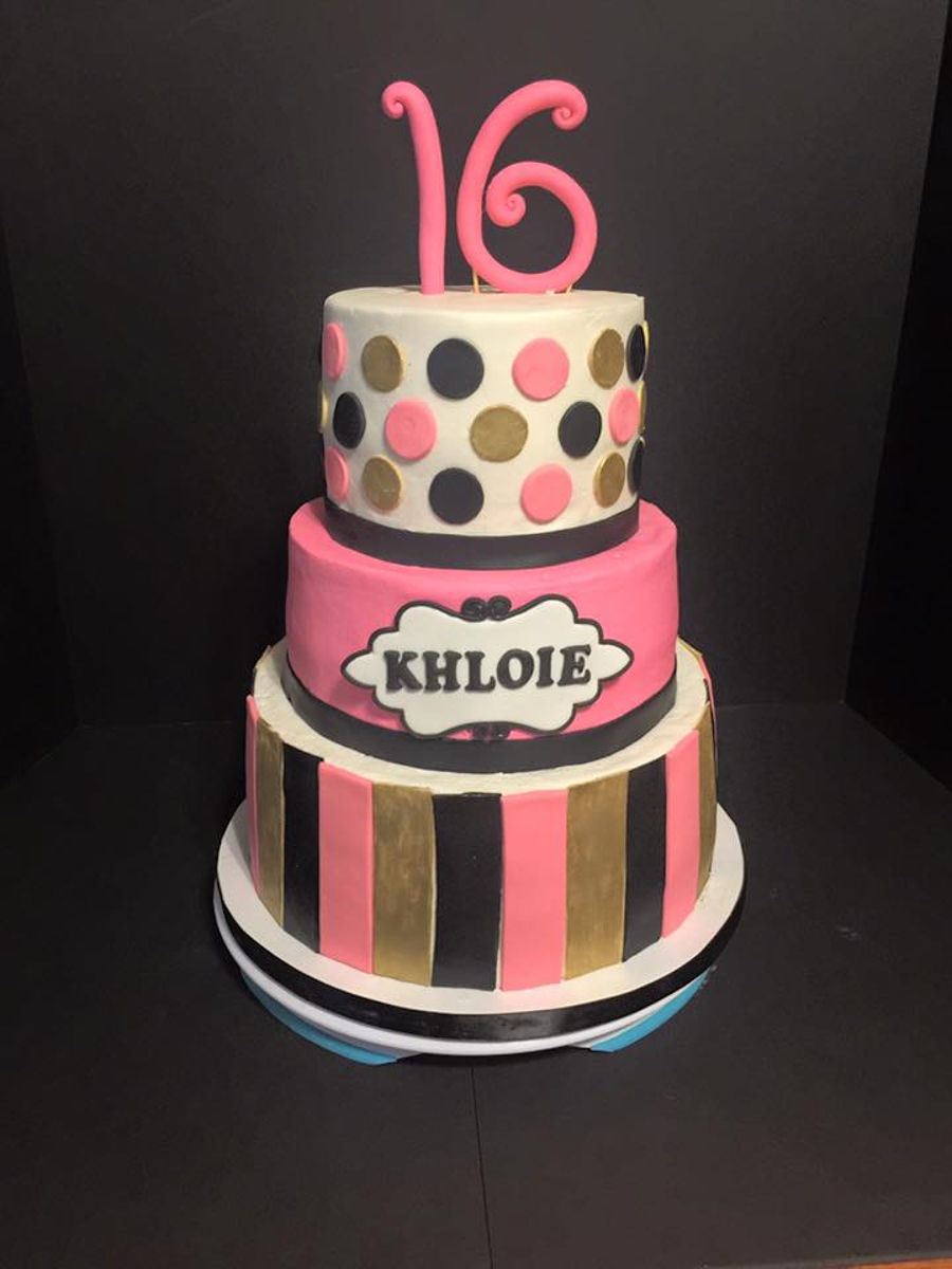 Sweet 16 Pink Black And Gold Cake CakeCentralcom