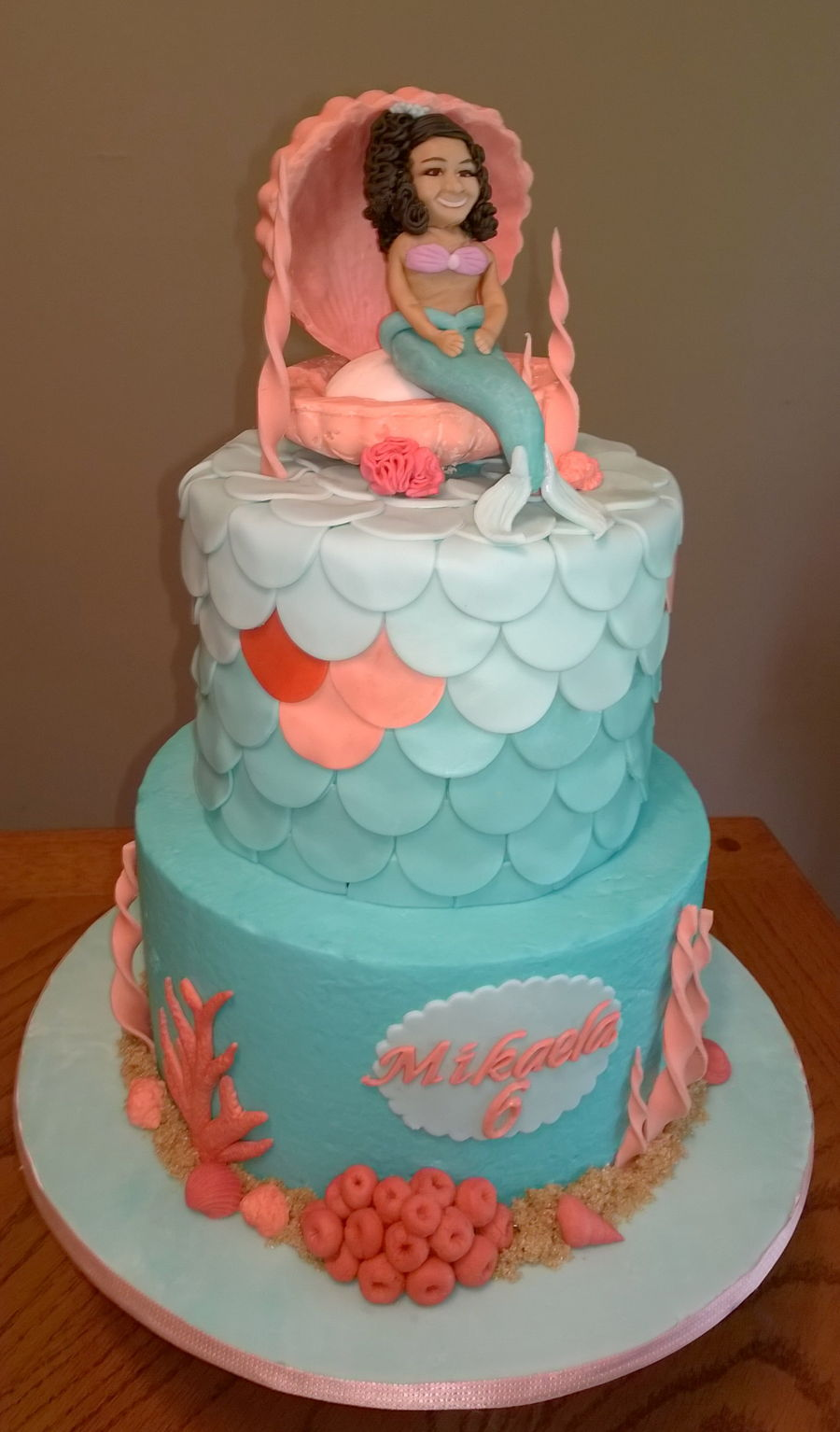 Teal And Coral Mermaid Cake Cakecentral Com