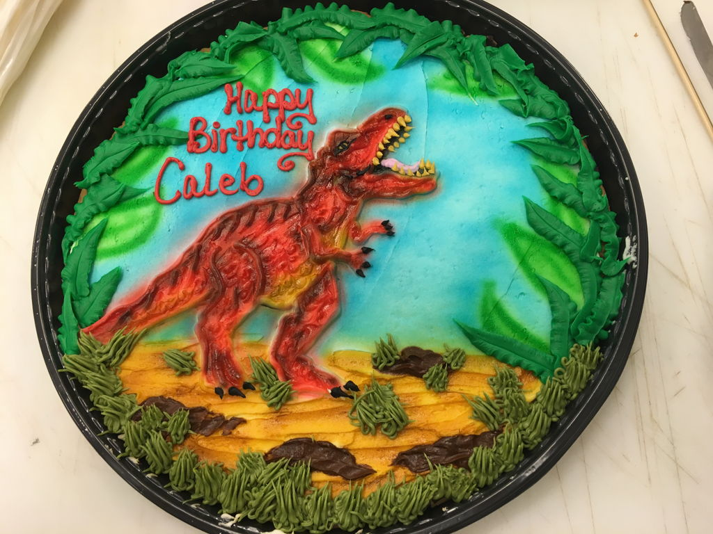 T Rex On A 12 Round Cookie Cake Cakecentral