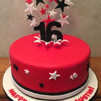 16Th Birthday Red fondant covered, stars and 16 made from gum paste