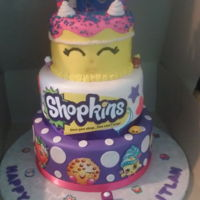 "3 Tier Shopkins With ""wishes"" Themed Birthday Cake 3 Tier Shopkins with ""Wishes"" Themed Birthday Cake:6"", 8"" and 10"" Tiers: All Yellow Cake in buttercream and..."
