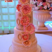 4 Tiered Wedding Floral Bliss This is my first 4 tiered cake for a wedding...