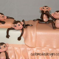 5 Little Monkeys Jumping On A Bed Cake 5 Little Monkeys jumping on a bed cake made for little Hasvi who was turning 1 this weekend