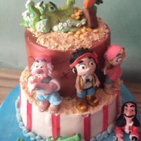 Ahoy Pirates. Cute pirate cake for a 4 year old boy. All figurines are made of Pettinice fondant and hand made.