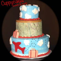 Airplane Cake   Airplane and map cake