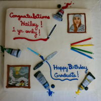 Artist Graduation / Birthday Cake For Hailey 2016 Root Beer Float Cake with Vanilla Buttercream. Paint brushes, pallet knife, & colored pencils are gum paste. Paint tubes, caps, &...