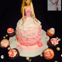 Barbie Life Vanilla and Chocolate with Vanilla Buttercream with matching cupcakes