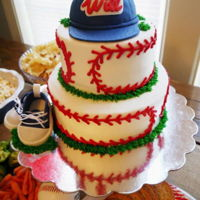 Baseball Baby Shower Baseball themed cake with fondant baby shoes and cap.