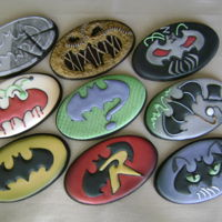 Batman Friend And Foe Logos Cookie Set chocolate NFSC, almond RI, multiple reference stencils and RI transfers, airbrushed stenciling and shading, credit Batman creators - DC...