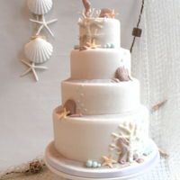Beach Wedding For a nice beach wedding , this cake with fondant.