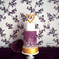 "Boho Geode Style Cake A marble Geode style tiered cake with gold paint and ""crystals"" :)"