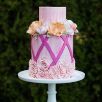 Bridal Shower - Pink With Flowers Lots of sugar flowers and ruffle rosettes