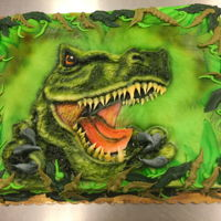 Buttercream Dinosaur 1/2 Sheet Cake 1/2 sheet marble cake iced and decorated with buttercream. I freehand piped the dinosaur with white buttercream, then airbrushed the...