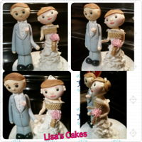 Cake Topper Bride and groom fondant cake topper.
