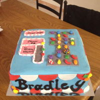 Candy Crush Candy crush cake is covered in buttercream and decorated with fondant pieces.