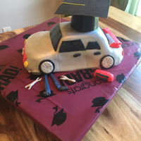 Car Cake Car covered in fondant to look like my nephew's car for graduation