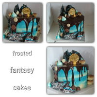 Thank You Chocolate Drip Cake Watercolour buttercream covered cake with chocolate ganache dripped over the top and finished off with lots of tasty treats