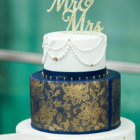 Cobalt And Gold Lace All fondant for this one