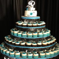 Cupcake Wedding Cake fondant covered topper, and buttercream cupcake tower