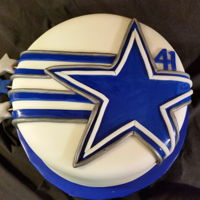 Dallas Cowboys Birthday Chocolate, Buttercream, MM Fondant and cut work. Side stars are formed on toothpicks and inserted in the side of the cake.