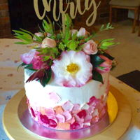 Decorating With Buttercream & Fresh Flowers 30th Birthday, white mud with raspberry swirl filled with white chocolate buttercream and decorated with white and tinted white-chocolate...