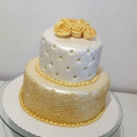 Elegant Gold Cake   Cake for my sister in law's birthday.First attempts with handmade cakelace ;)