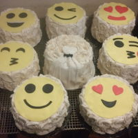 "Emoji Faces Themed ""thank You"" Wedding Party Cakes  (8) 6"" Emoji Faces themed ""Thank You"" Wedding Party Cakes: (2) Strawberry, (2) Chocolate and (4) Lemon Cake in buttercream..."
