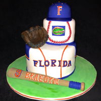 Florida Baseball I made this cake for a future University of Florida baseball player! Glove and bat are gum paste and fondant and the hat is gum paste. TFL...