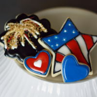 Fourth Of July Cookies nfsc recipe with royal icing. fyi this isn't traditional recipe using meringue powder...its powdered sugar, milk, corn syrup &...