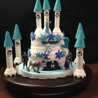 "Frozen My niece wanted a ""Frozen"" cake for her 3rd birthday. The idea was taken from Pinterest with a few adaptations."